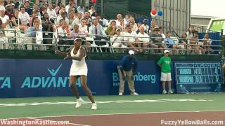 Venus Williams plays a point at a Wash. Kastles match