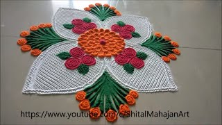 Beautiful and Easy Rangoli Designs Using Comb|Rangoli by Shital Mahajan