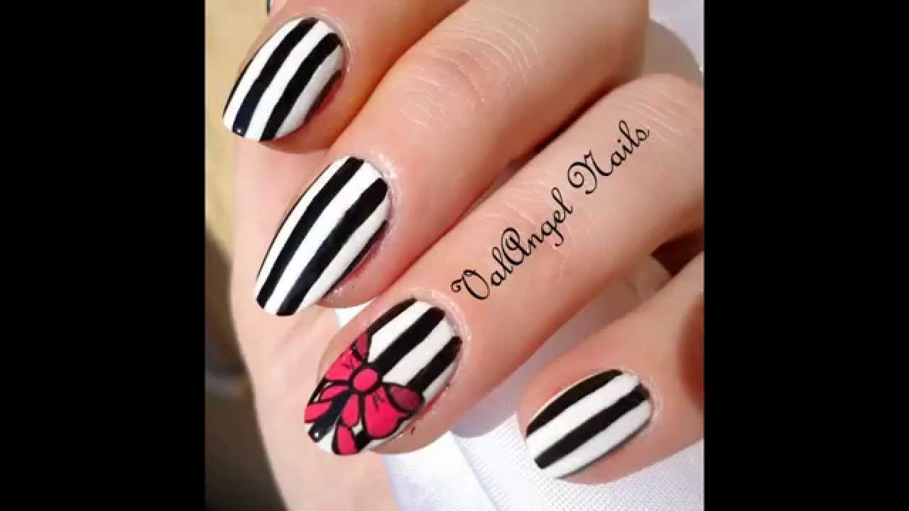 Nail Art Tutorial Black And White Stripes Youtube