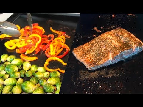 Dinner on the Blackstone Griddle | Fresh Wild Salmon, Peppers, Jalapenos, & Roasted Brussel Sprouts