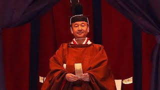 Japan emperor Naruhito proclaims ascension to throne in elaborate, centuries-old ceremony