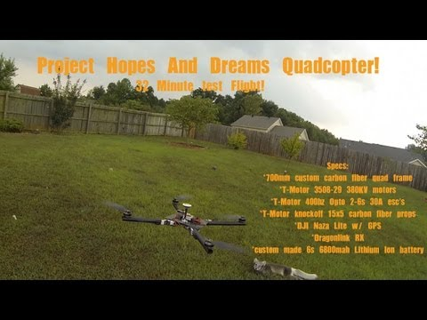 Project Hopes and Dreams 6s  long flight time quadcopter part 1 Flown with Dragonlink