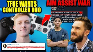 Tfue NEW GOD Controller Duo.. PROS LOSING It Over AIM ASSIST.. Is It UNFAIR? Bugha Wins BIG!