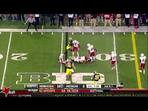 Taylor Lewan and Michael Schofield vs Nebraska 2013
