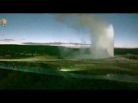 Rangers Check Temperature Of Geyser With Green Light@Yellowstone.