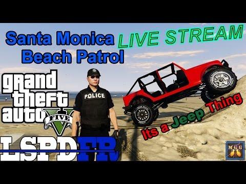 Santa Monica Beach Patrol Jeep Wrangler Doors Off GTA 5 LSPDFR Live Stream 38