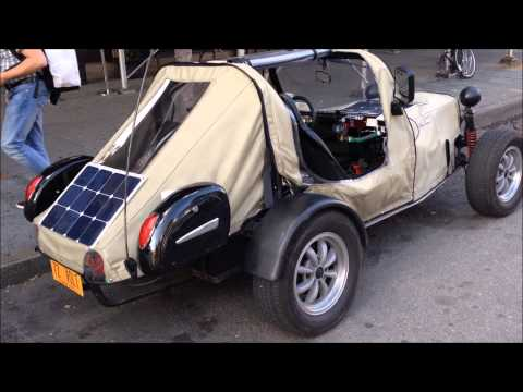 RARE & SOMEWHAT HOMEMADE ELECTRIC & SOLAR CONCEPT CAR ON 6TH AVE. IN MANHATTAN, NEW YORK CITY.