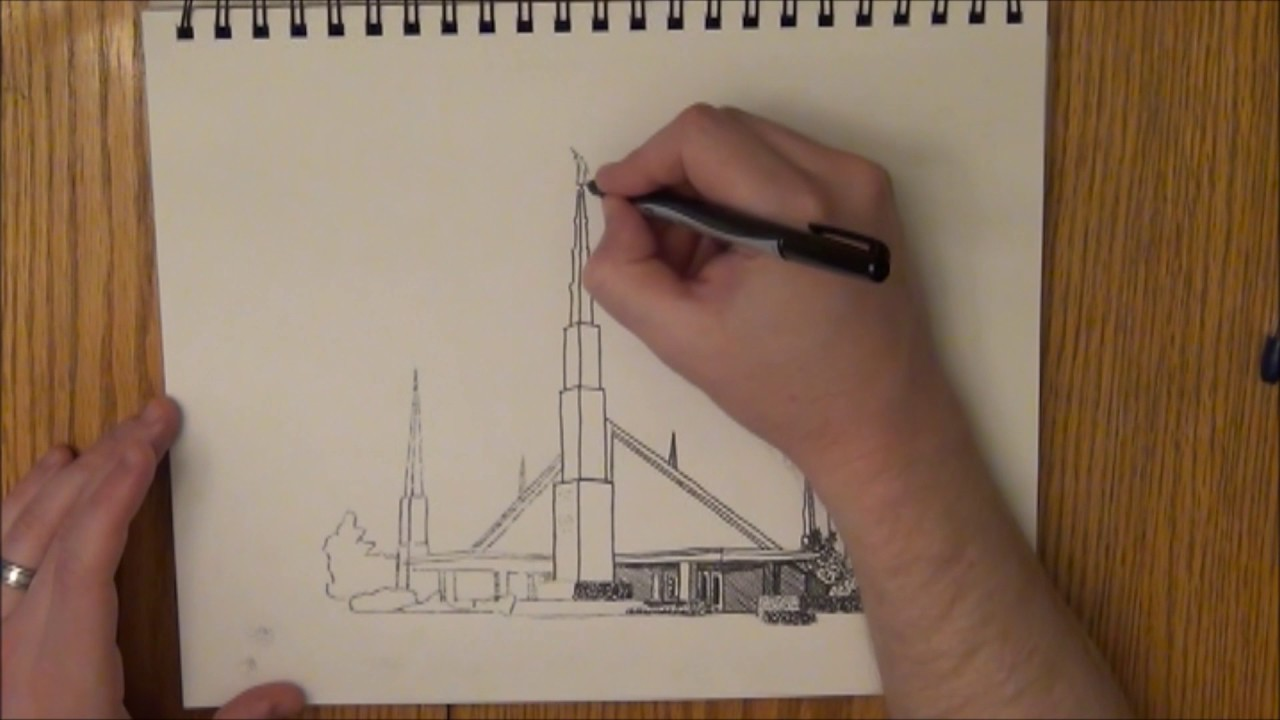 Dallas Texas LDS Temple Ink Drawing Time Lapse - YouTube