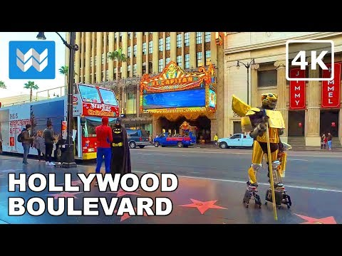 Walking around Hollywood Boulevard in Los Angeles, California - 4K