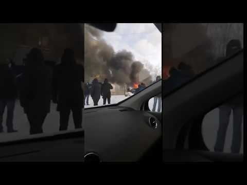 Возгорание автобуса в Усинске