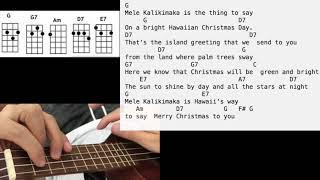 Mele Kalikimaka Ukulele Tutorial Play along Sing Along