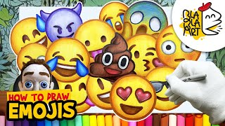 HOW TO DRAW EMOJIS | Beautiful Emoji Easy Drawing Compilation | BLABLA ART