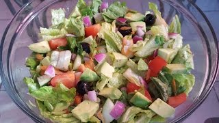 New Orleans native Charlie Andrews demonstrates on how to make Garden Salad. This salad can serve up to 6 or more people. It is made with Romaine lettuce, ...