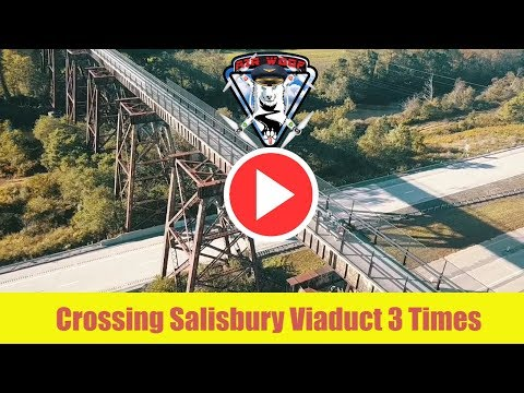 Adventures with my husky dogs woofDriving Drone view Crossing Salisbury Viaduct 3 Times