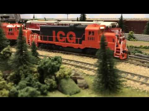 Illinois Central Gulf GP10's Pulling Freight Train