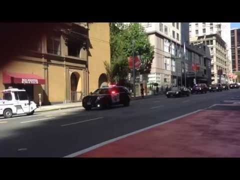 King of Jordan, Abdullah II ibn al-Hussein, police escort down 3rd St in San Francisco