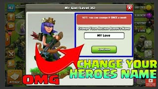 """OMG 😱 """"CHANGE YOUR HEROES NAME """" IN CLASH OF CLANS"""