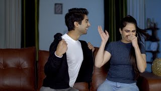 Indian woman telling her man that he smells very bad - stinky body odor concept