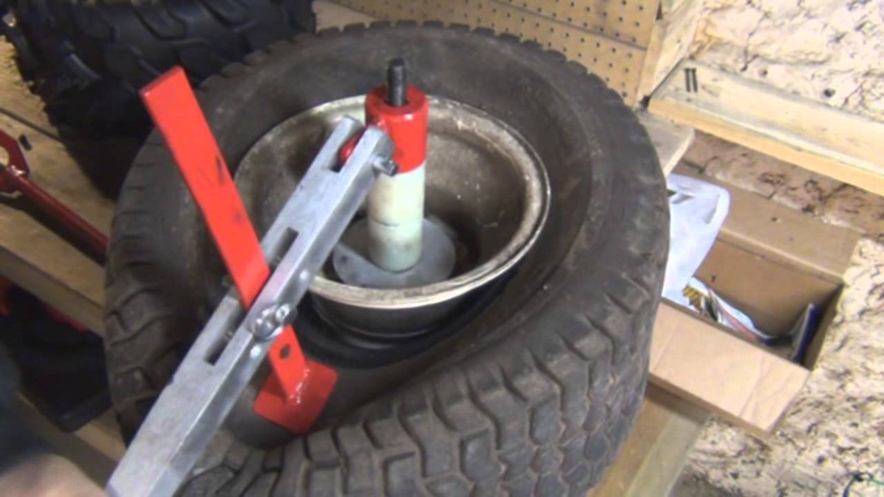 Four Wheeler Tyres : How to change a lawn mower atv wheeler tire using