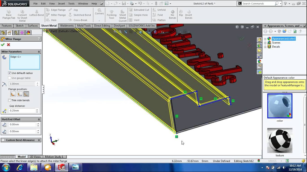 Solidworks 2015 Sheet Metal Miter Flange Youtube