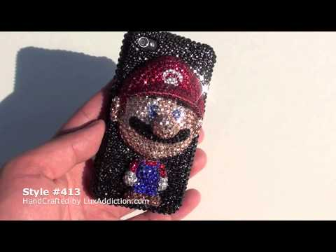 SWAROVSKI CRYSTAL SUPER MARIO BLACK BLING IPHONE 4 CASE By LUXADDICTION