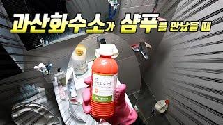 (SUB) 과산화수소로 쓰레기집 화장실 청소 하기! 놀…