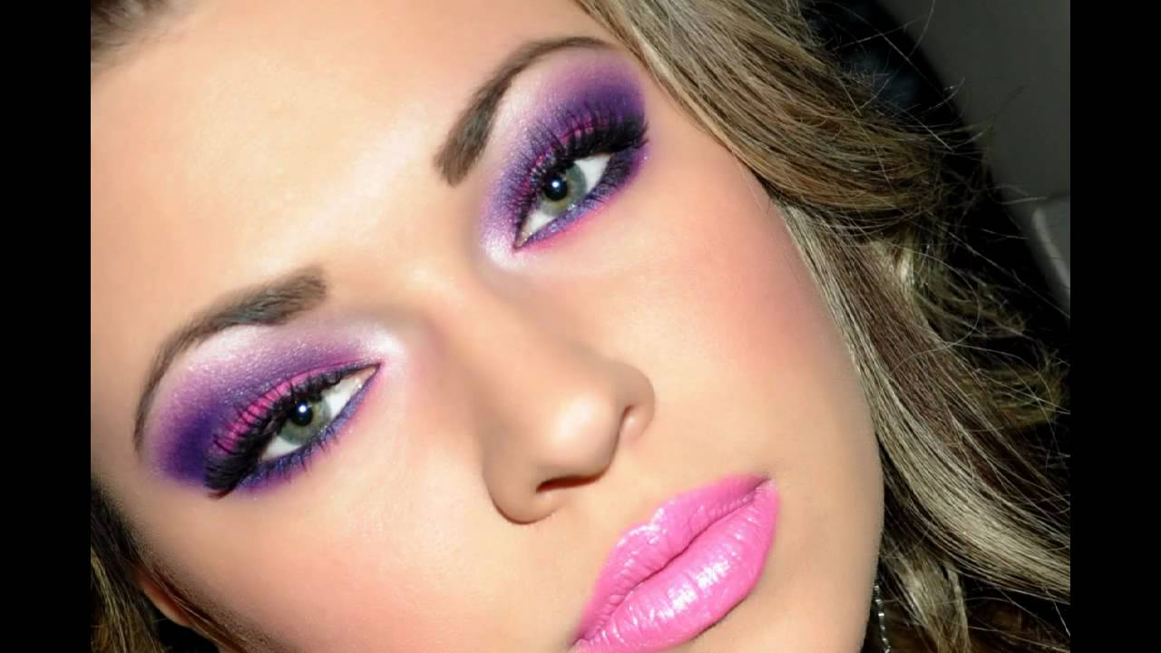 Dramatic Pink and Purple Valentines Day makeup - YouTube