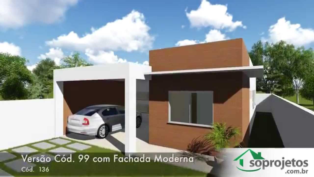 Modelos de casas 3 quartos com fachada moderna c d 136 for Modelos de casas de 3 dormitorios