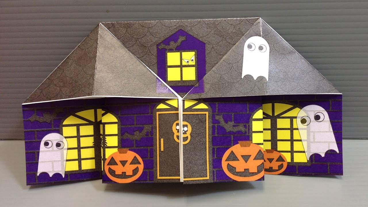 origami halloween haunted house print your own paper youtube - Halloween House Pictures