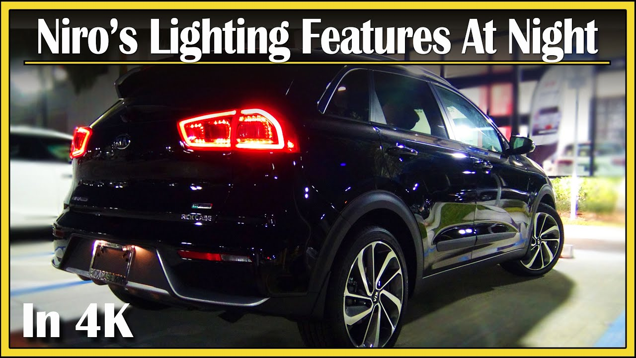 2018 kia niro interior. fine niro 2017  2018 kia niro touring hybrid  detailed nighttime walk around  night review in 4k uhd and kia niro interior
