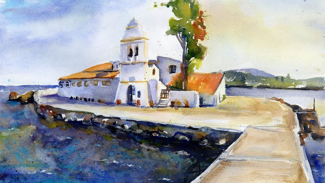 Watercolor painting Corfu - Greece