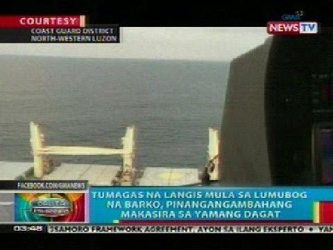 BP: Tumagas na langis sa lumubog na barko sa Pangasinan, maaring makasira sa yamang dagat