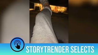Hilarious moment man slips on ice while filming on TikTok