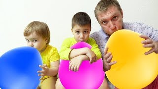 Learn Colors With Balloons for Children Learning Colors with Finger Family Song and Funny Baby