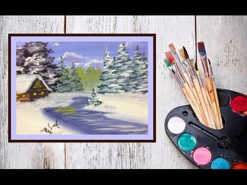 Видео урок  Рисуем зиму гуашью