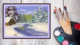 Видео урок  Рисуем зиму гуашью(В этом видео уроке предлагаю нарисовать зиму! Но не просто зимний лес, а окраину какой то деревушки, с избушк..., 2014-11-20T13:02:41.000Z)