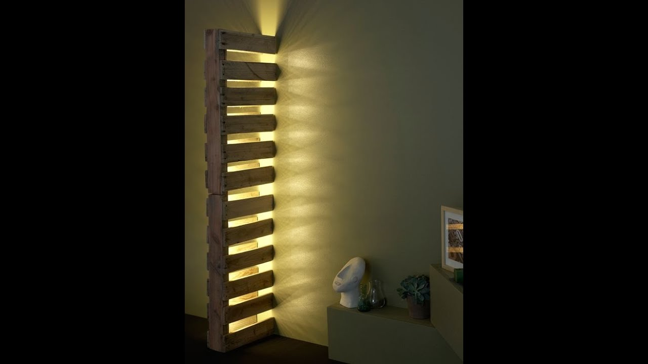 Wood pallets wall lamp DIY tutorial - YouTube
