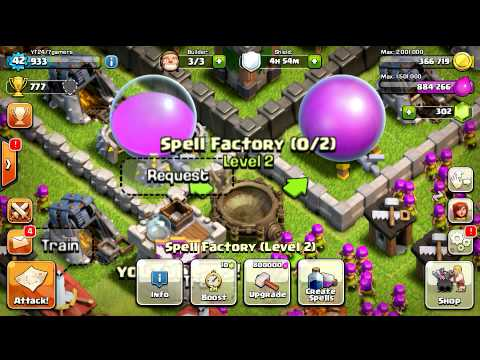Clash Of Clans Upgrading Level 2 Spell Factory!