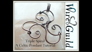 Easy Triskel (triple Spiral) Celtic Wire Wrapped Pendant