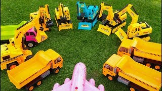 A lot of Excavator toys -  Dump Truck, Toy plane - Construction vehicles toys for kids