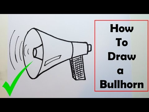 How to Draw a Bullhorn - VERY EASY - STEP BY STEP