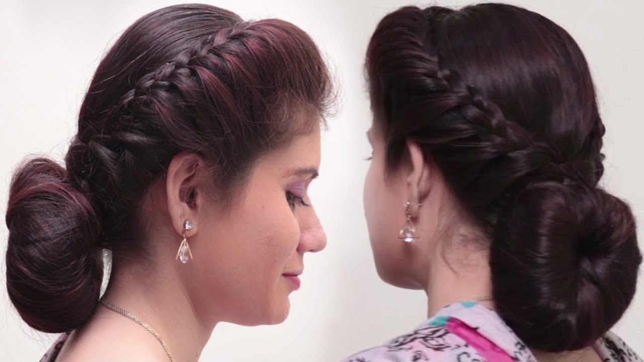 2 Quick Easy Bubble Bun Hairstyles For Saree Simple Bridal Hairstyle For Long Hair Tutorial