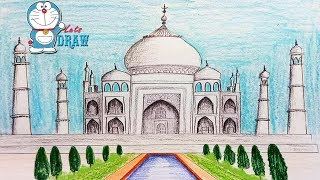 How to draw Taj Mahal step by step (very easy)