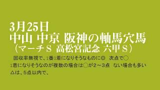 平成30年3月25日 中山 中京 阪神の軸馬穴馬(マーチS 高松宮記念 六甲S) thumbnail