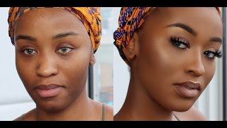 neutral glam makeup tutorial   woc