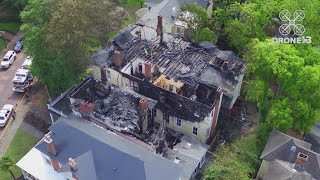 View of fire damage to downtown historic Macon homes from #Drone13