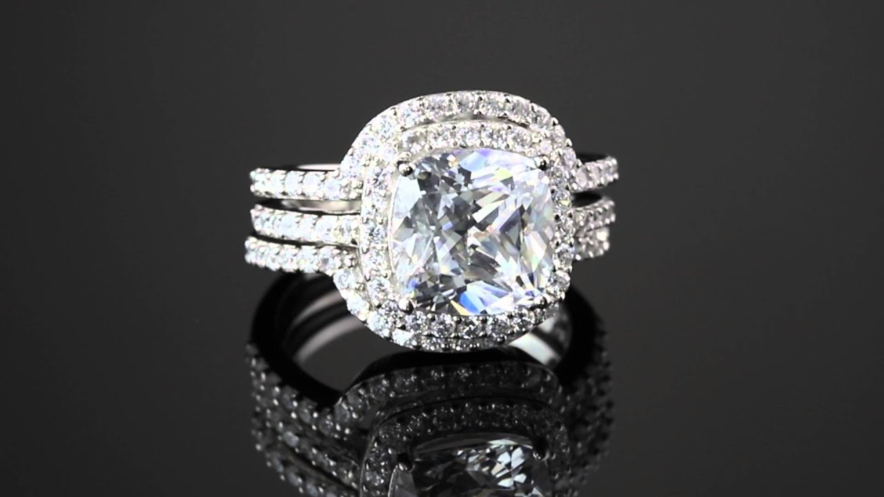 426 Tcw Cushion Cubic Zirconia Threepiece Halo Bridal Ring Set In  Platinum Over Sterling Silver