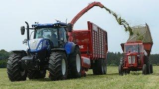 New Holland T7.270 Working w/ Kongskilde ES1060 Forage Harvester Cutting Grass   Danish Agri