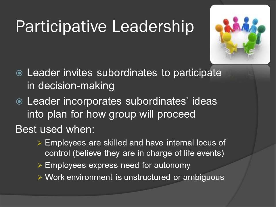 subordinate leadership Servant leadership is based on the relationship between leader and subordinate and is built on honesty, integrity and equality a servant leader often is the teacher and once the subordinate understands the task, the subordinate only uses the leader as a resource to help accomplish the task if the subordinate encounters a problem, the leader will ask.