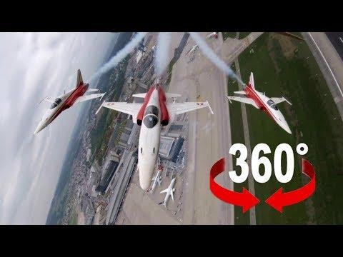 Zurich Airport Patrouille Suisse Display - 360video